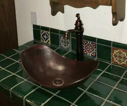 18 Oval Copper Vessel Bathroom Sink With Daisy Drain And 13 Rose Copper Faucet