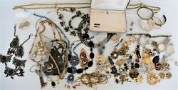 Costume Jewelry Lot Vintage Estate Brooches Watches Unsigned 3+ Lb Crafts Repair