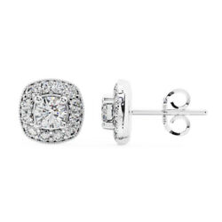 0.86 Carat Round Brilliant Cut Solitaire Diamonds Halo Stud Earrings In 18k Gold
