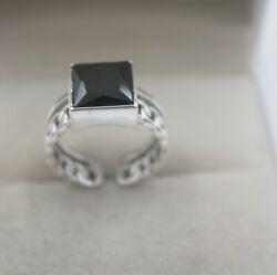 Pure S925 Silver Ring Girl Woman's Black Agate Square Weave Open Ring 6-9 New