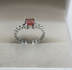 Pure S925 Silver Ring Girl Woman's Red Garnet Weave Small Open Ring US 6-9 New