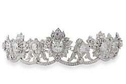Victorian Style White Gold Plated Floral Cluster Handmade Vintage Diamond Tiara