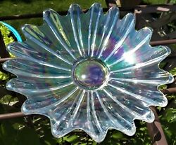 Eye Catching Celestial Iridescent Pressed Glass 1970and039s Bowl By Federal Glass