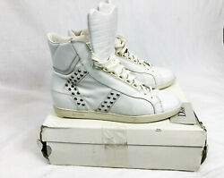 Dior Homme Strip Hi-top White Leather Studded Sneakers Shoes Hedi Slimane 42.5