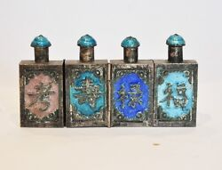 Antique Chinese Silvered Enamel Triple Hinged Snuff Bottle Scent Perfume Qing