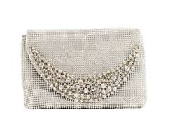 Hearty Trendy Crystal Glass Rhinestone Unique Shape Evening Bag with Metal Frame $24.95