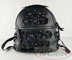 BIGSALE! AUTHENTIC $4900 FENDI Allover Flower Black Edition Leather Backpack