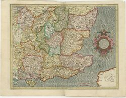 Antique Map Of South East England By Mercator 1633