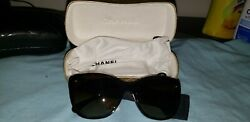 Chanel Women's Authentic Rhinestone Sunglasses Brown Based X Gold 5299-b-a