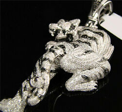7 Ct Sim Diamond Jungle Book Climbing Panther Menand039s Pendant White Gold Fn Silver
