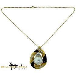 Js Signed Antique South Sea Pearl, Onyx, And Diamond Necklace/pendant, Brooch/pin