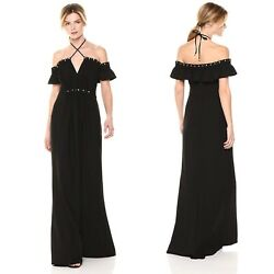 NWT Zac by Zac Posen $990 Claudine Black Gown Off The Shoulder Pearls Maxi