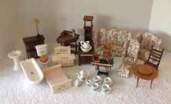 36pc Vintage Doll House Furniture Living Bed Bath Room Sewing Clock Tables Lamp
