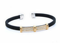 14k Yellow Gold Bangle With Black Stainless Steel Mesh Natural White Diamonds