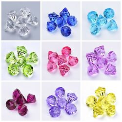 50 Pc Acrylic Faceted Transparent Diamond Beads Jewelry Crafts 9 Colors 15x15mm