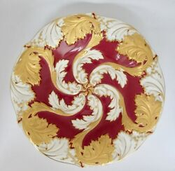 Meissen Large Beautiful Antique Collectible Deep Plate Raised Gold 11 D 1435