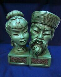 Statues Heads Bust Busts Asian Oriental Japanese Faces Green Figurine Rare Old