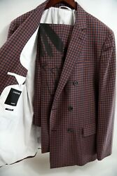 208 Calvin Klein 205w39nyc Double Breasted Check Suit Size 40 R