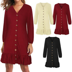 Women's Vintage Retro V-Neck Long Sleeve Swing Party Tunic Casual Shirt Dress