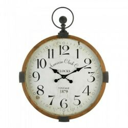 Wall Clock Stopwatch Style Vintage Distressed Look W/ White Clock Face Free Ship