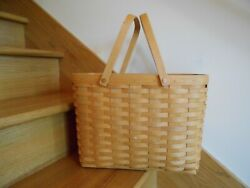 Longaberger Magazine Basket And Protector 2001 Classic Handy Shipping Included