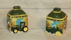 Vintage John Deere Salt And Pepper Manufactured By Gibson Stoneware
