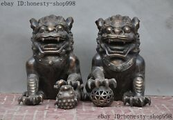 19old Chinese Palace Bronze Fengshui Guardian Foo Fu Dog Lion Beast Statue Pair