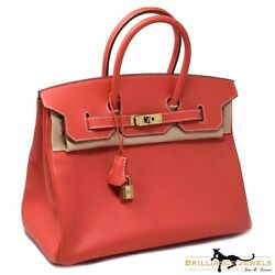 Brand New HERMÈS Birkin 35 Sanguine Clemence Leather Gold Hardware Purse Handbag