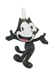 925 Sterling Silver Felix Inspired Pendant Fully Studded Cat Design Neck Jewelry