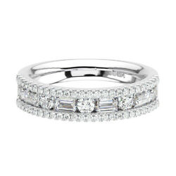 1.10ct Channel Set Round And Baguette Cut Diamond Half Eternity Ring In 18k Gold