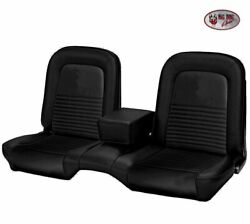 1967 Mustang Coupe Front And Rear Bench Seat Upholstery - Black Vinyl Made By Tmi