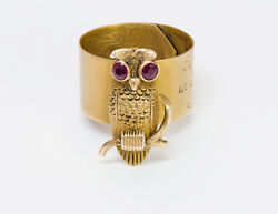 Antique Ruby 14k Yellow Gold Owl Cane Mount Band