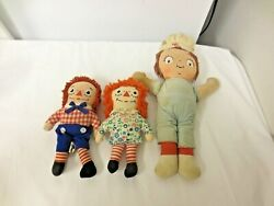 Lot 3 All Cloth Dolls-2 Knickerbocker Raggedy Anne/andy And Campbells