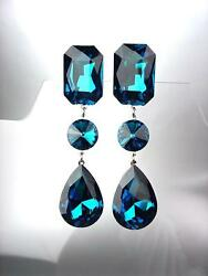 Gorgeous Blue Topaz Crystals Long Chandelier Post Earrings Prom Bridal Pageant