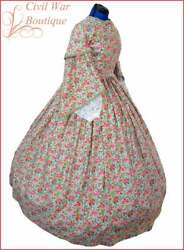 1800and039s Civil War Victorian Day Dress Pagoda Sleeve Parsley Flowers Made In Usa