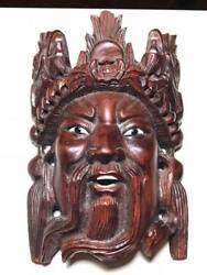 Vintage Chinese Emperor Dragon Wooden Mask