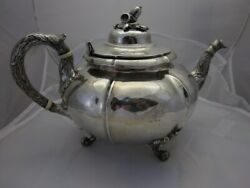 J And I Cox Of New York Circa 1820 Sterling Coin Silver Teapot And Waste Bowl