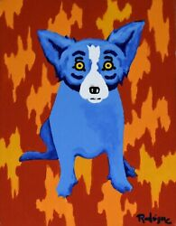 George Rodrigue Blue Dog Fire Wall Acrylic on Canvas Signed Artwork 2003