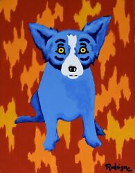 George Rodrigue Blue Dog Fire Wall Acrylic On Canvas Signed Artwork