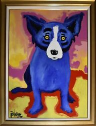 George Rodrigue Blue Dog Chien Bleu Oil & Acrylic on Canvas Signed Artwork 1994