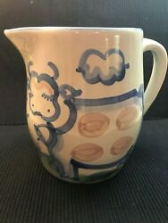Vtg Handpaint Ma Hadley Pottery 7'' Water Milk Pitcher Jug Country Cow The End