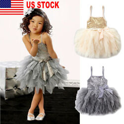 US Flower Girl Dress Lace Gown Formal Wedding Bridesmaid Party Pageant for Kid