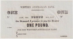 Western Australian Bank 1844 Unissued One Pound Uncirculated