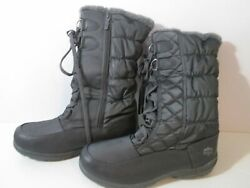 Totes Winter Boots Quilted Gray Size 11M Lined Faux Fur Lace Up amp; Zipper NWOT $19.95