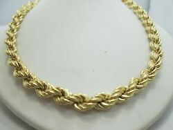 Estate 14k Yellow Gold Hollow Rope Chain Necklace Italian 29.5 6.4mm 31.4g M555