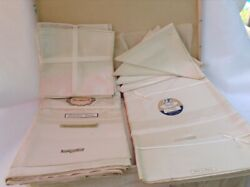 New Old Stock Two Vintage Damask Tablecloths And Eight Napkins