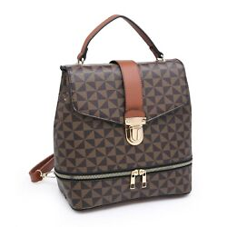 Designer Inspired Women's Chic PU Faux Leather Rucksack Tote Purse Flap Backpack