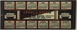 Celluloid Cover Blotter Book And 1937 Calendar Cross And Brown Real Estate Ny City