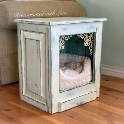 Farmhouse Pet Bed Side Table End Table Nightstand Small Dog House Cat Bed