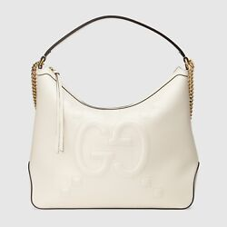 Womenand039s Original Large Leather Embossed Gg Hobo Bag White Msrp 2490